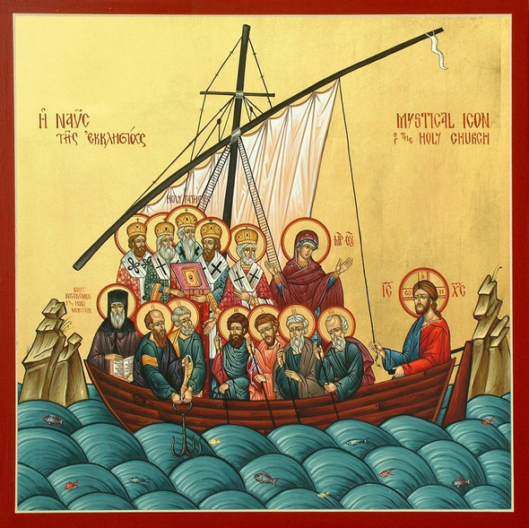 The Mystical Church, large icon, depicts the Church as an ark of salvation led by Christ but filled with His holy ones.