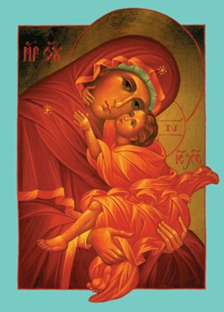 Mother of God icon cards (aqua border), pack of 10 cards