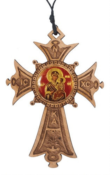 Wood Cross Ornament with icon of Virgin and Child