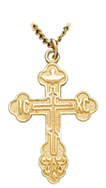 St. Xenia Cross, sterling silver with gold overlay, chain included