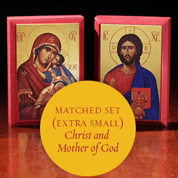 Matching set: Christ and Mother of God, extra-small icons (Sommer)