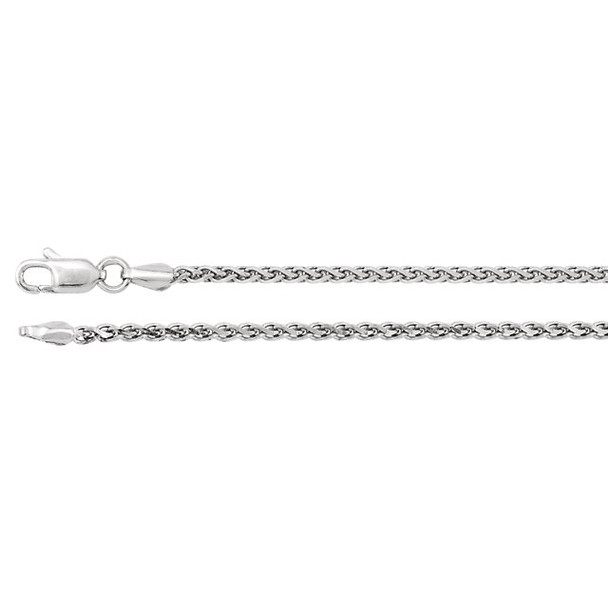 """18"""" Sterling Silver Rolled Wheat Chain (2.0mm with lobster claw clasp)"""