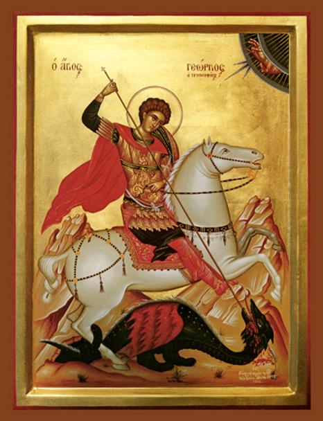 Saint George slaying the dragon, small icon