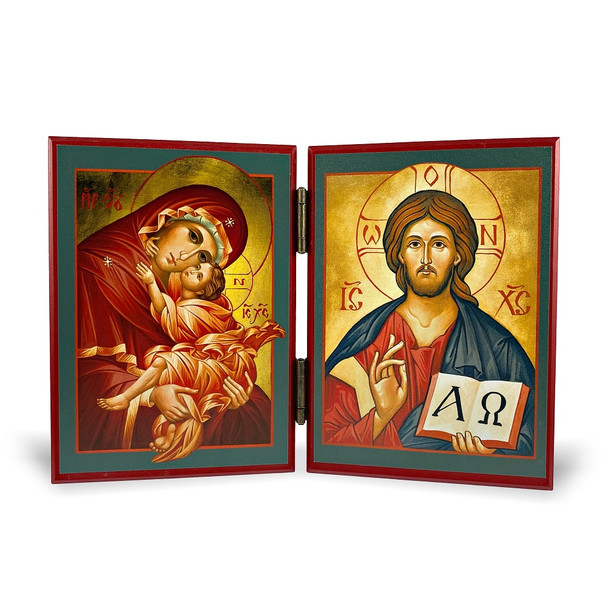 Diptych: Christ the Savior and the Mother of God, medium icons
