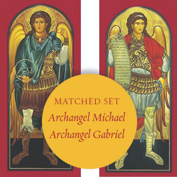 Matching set: Archangel Michael & Archangel Gabriel, full-figure icons