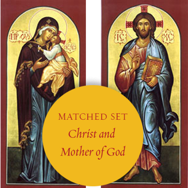 Matching set: Christ Our Lord & Virgin and Child, full-figure icons