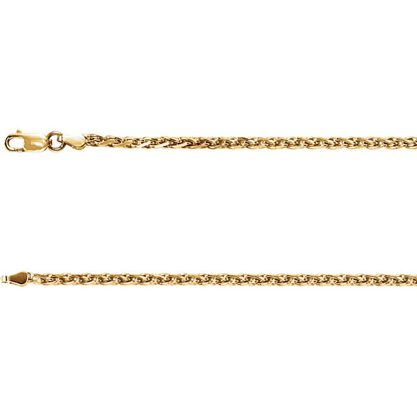 """20"""" 14k Yellow Gold Rolled Wheat Chain, 1.2 mm"""