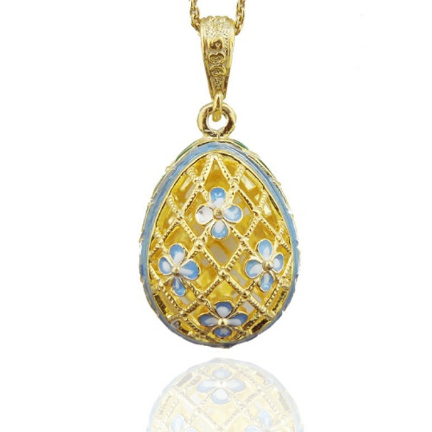 Egg Pendant, Floral Filigree, powder blue accents