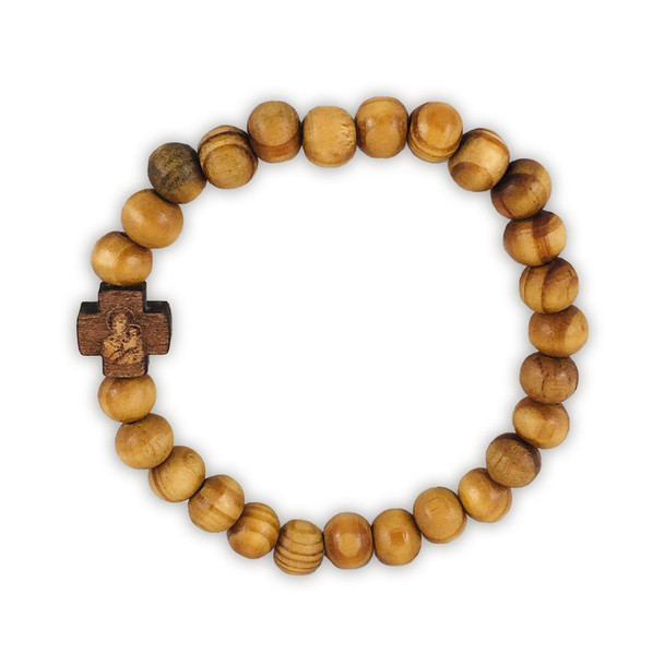 Prayer Bracelet with olive wood beads, wooden cross. Will stretch to fit most wrists.