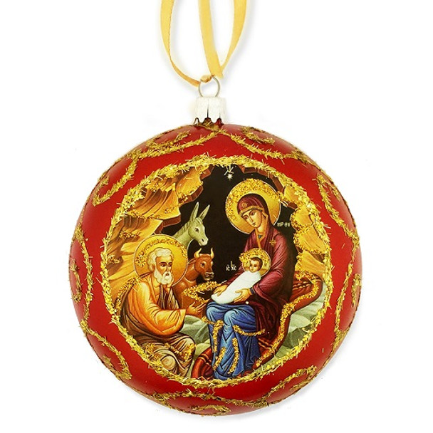 Ornament, Nativity icon on red, Ukrainian