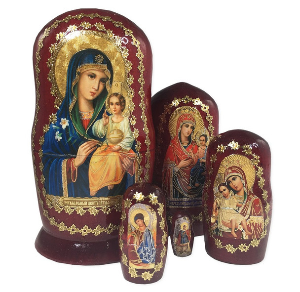 Icon Nesting Dolls, 5pc Blue Robe. Theotokos.