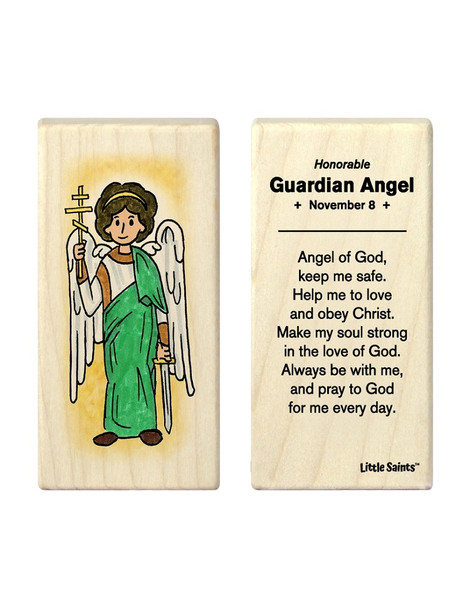 Little Saints Guardian Angel Individual Block with prayer on back
