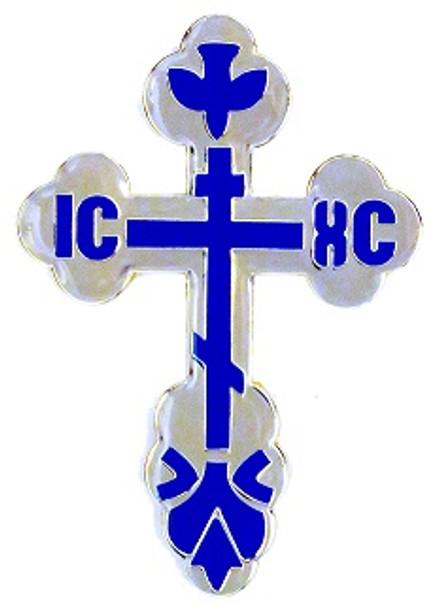 Auto Visor Clip, St. Xenia budded cross, silvertone