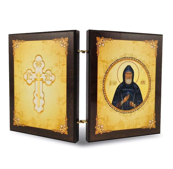 Diptych: St Ephrem Prayer, icons of Christ and St Ephrem, medium. Reverse side.