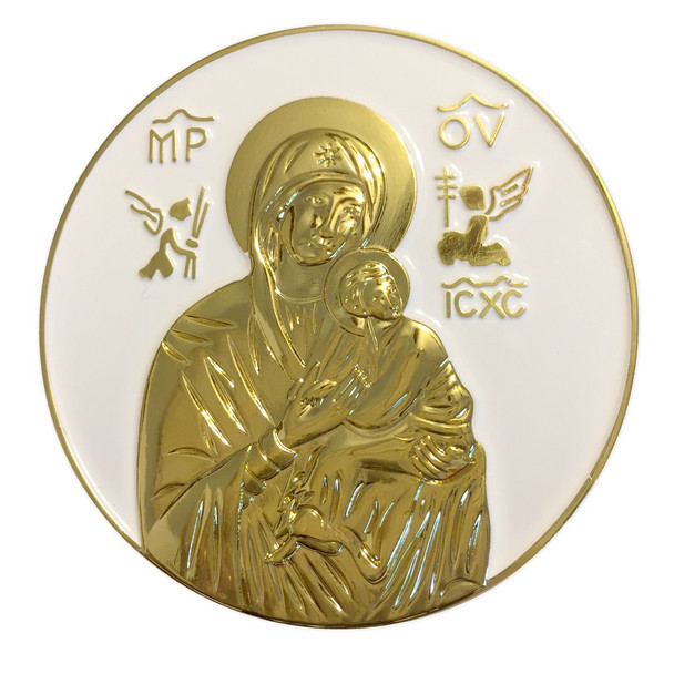 Auto Visor Clip, Theotokos with Christ Child, round. The images are raised.