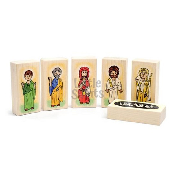 Little Saints Resurrection Playset. Includes a fabric storage bag and 6 blocks.