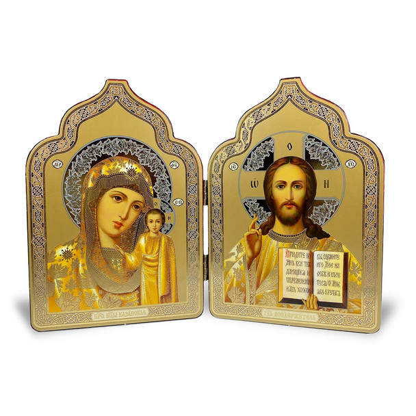 Diptych: Virgin of Kazan and Christ The Teacher, dome-shaped, medium icons