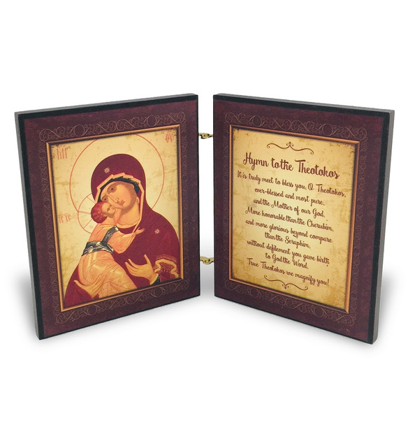 Diptych: Hymn to the Theotokos, icon of Mother and Child, inside panels