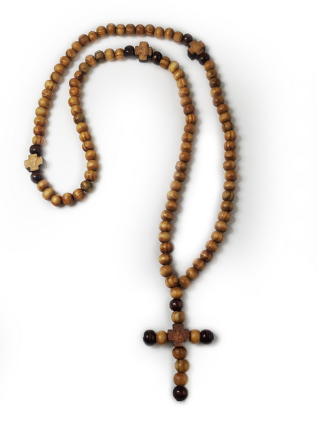 Prayer Beads, 100 olive wood beads with cross