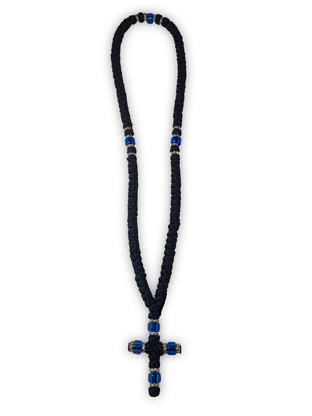 Prayer Rope, 100 knots with cross and blue beads