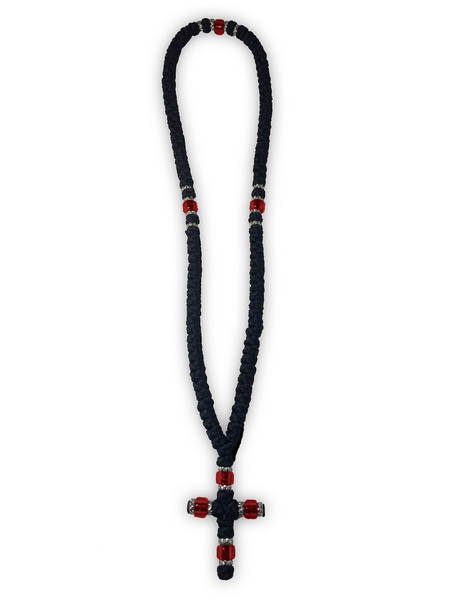 Prayer Rope, 100 knots with cross and red beads