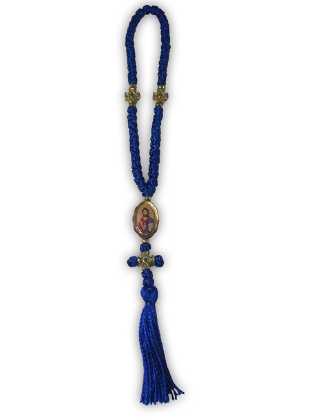 Prayer Rope, blue 50 knot with icon, cross, and tassel. Christ icon.