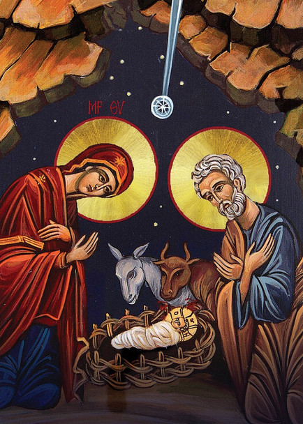 Christ in the Manger, individual Christmas card