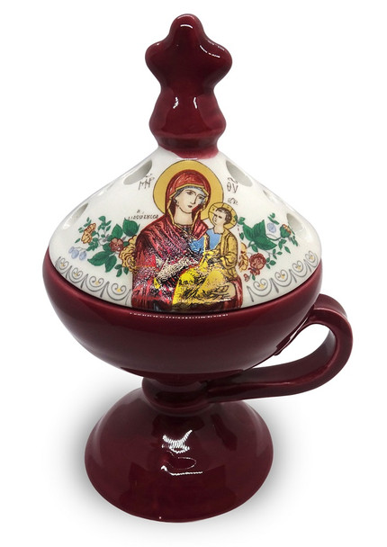 Ceramic censer, burgundy with a cover featuring an icon of Mother and Child.