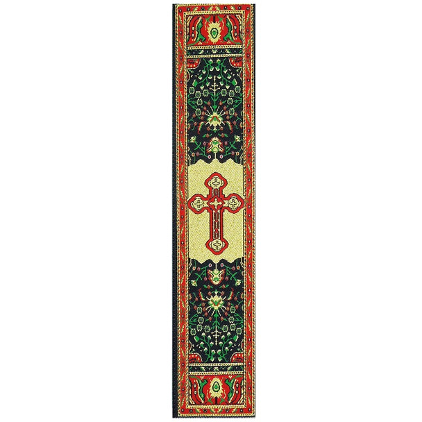 Tapestry bookmark, red with Byzantine cross