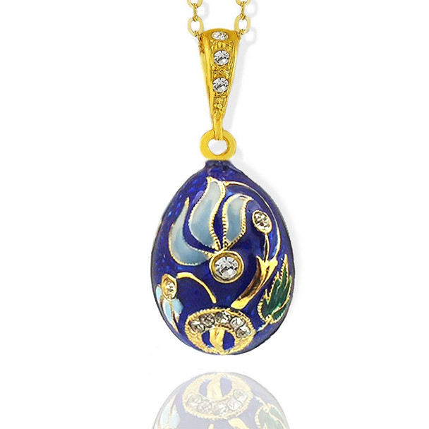 Egg Pendant, Fabergé style with blue floral design
