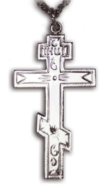 008215 Three-bar Cross, sterling silver, medium, chain included