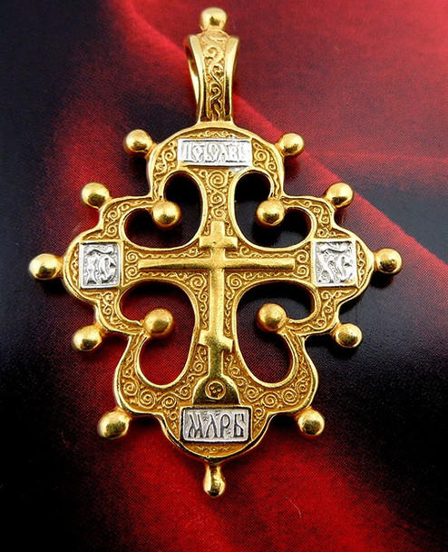 008669 Russian cross, sterling silver and gold-plated, Old Believers