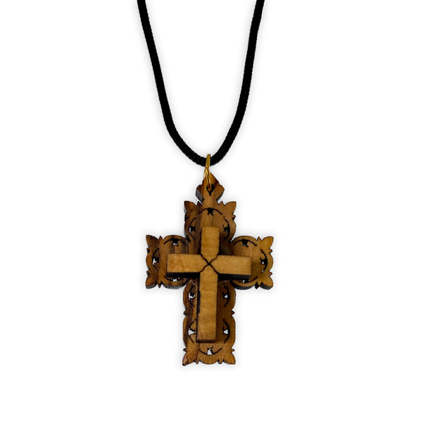 Olive wood cross-on-cross