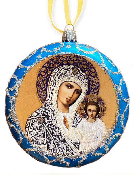 Ornament, Kazan Mother of God on blue with silver accents, Ukrainian