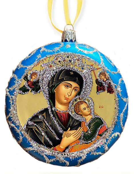 Ornament, Perpetual Help on blue with silver accents, Ukrainian