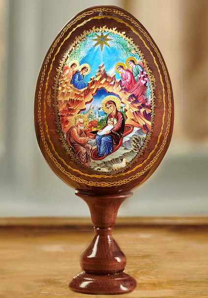 Wood egg on stand, Nativity with Angels icon