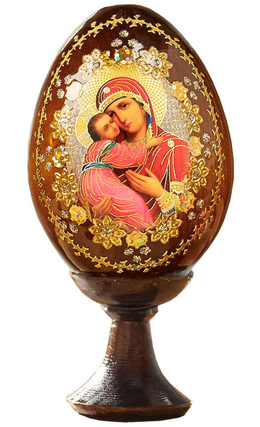Wood egg on stand, Vladimir Mother of God icon with gold ornamentation, small