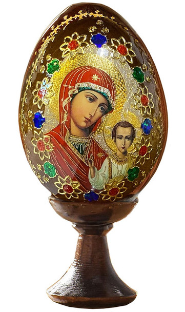 Wood egg on stand, Kazan Mother of God icon with gold ornamentation, small