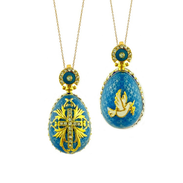 Egg Pendant, Fabergé style with cross and dove, turquoise