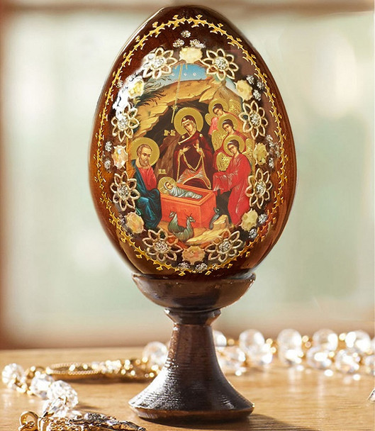 Wood egg on stand, Nativity Manger, small