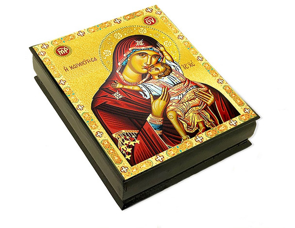 Wooden Icon Box, Sweet Kissing, large