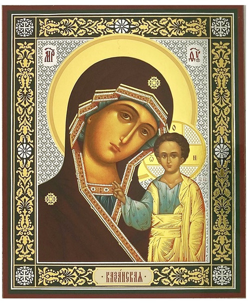 Virgin of Kazan (gold and silver foil), small icon
