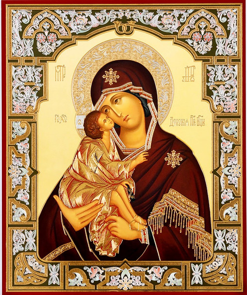 Virgin of Don (gold and silver foil), medium icon