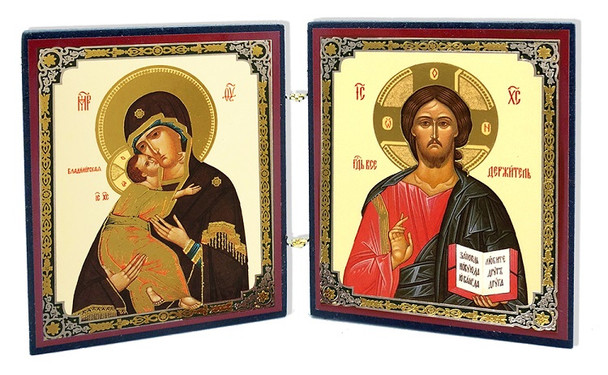 Diptych: Virgin of Vladimir and Christ the Teacher, mini icons