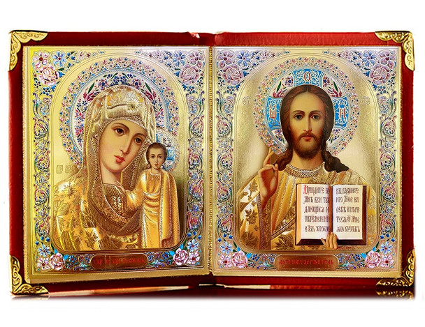 Diptych: Virgin of Kazan and Christ the Teacher, medium icons in leatherette case