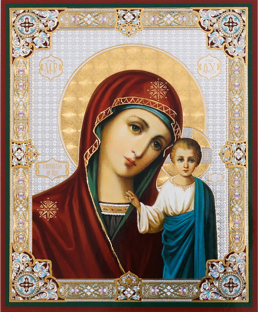 Virgin of Kazan (gold and silver foil), medium icon