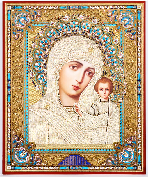 Virgin of Kazan in white robe (gold and silver foil), medium icon