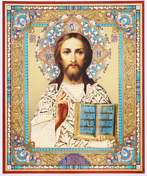 Christ the Teacher in white robe (gold and silver foil), medium icon