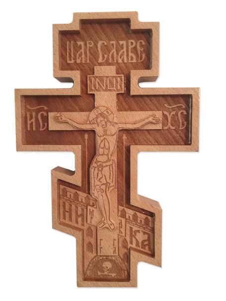 Wood Wall Cross, 8 inch three-bar