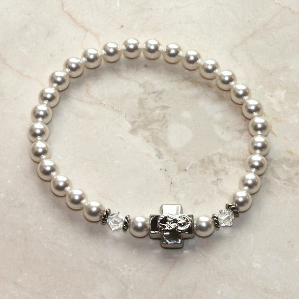 Prayer Bracelet with SnowWhite Swarovski pearls, silver-tone cross
